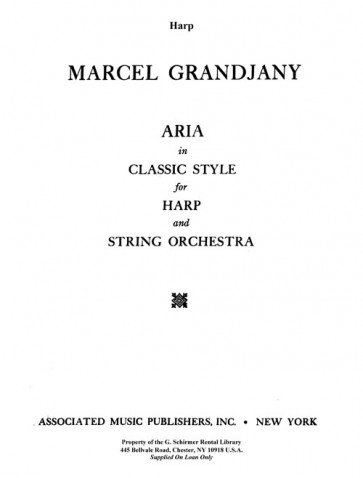 Aria in the Classic Style - for Harp and Strings