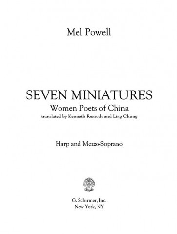 Seven Miniatures, Women Poets of China