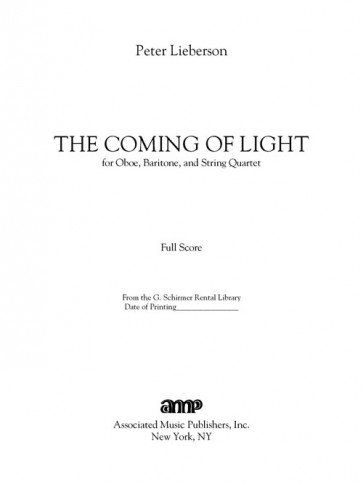 The Coming of Light (baritone, oboe and string quartet)