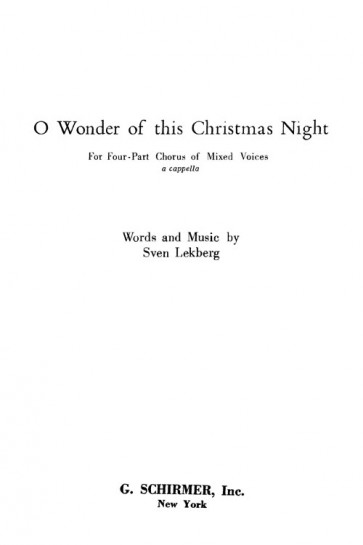 O Wonder of This Christmas Night