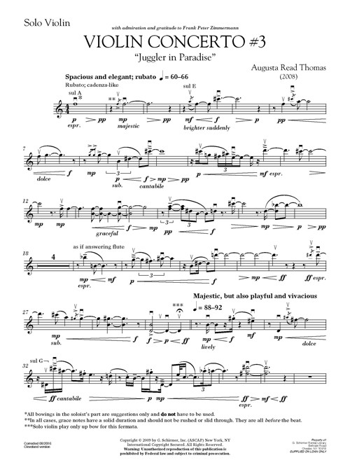 Augusta Read Thomas: Violin Concerto No  3, Juggler in Paradise - solo part  (violin)